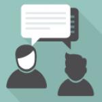 Ikon av to personer som prater