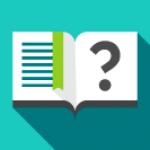 Ikon - Oppslått bok med stort spørsmålstegn