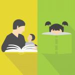 Icon - todelt - et med barnehagelærer og barn som leser, og et med jente med musefletter bak en bok