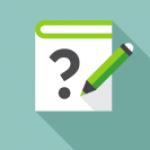 Ikon - Blyant og bok med spørsmålstegn på